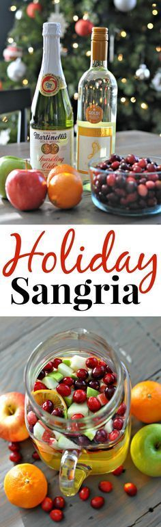 Holiday Sangria. Beautiful drink to serve your guests! Made without the wine and sparkling white grape instead of cider......