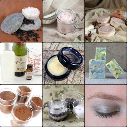 2013 DIY Gift Giving Guide for her  Top Row: Coffee Butter Foot Creme, Coconut Oil  Pink Salt Scrub,  Pink Salt Shea Spa Bar  Middle Row: Champagne Bubble Bath, Vanilla Latte Lip Balm, French Curl Cold Process Tutorial  Bottom Row: Bronzer Shimmer Stick, Lavender and Epsom Bath Salts, Smokey Eyeshadow