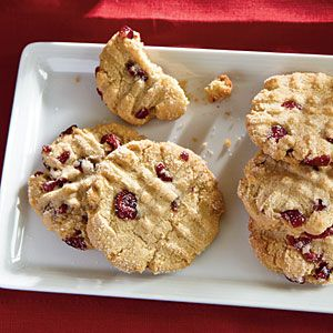 Christmas Cookie Recipes | Macadamia Butter Cookies with Dried Cranberries | CookingLight.com