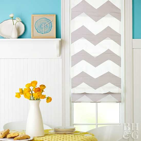 Transform a store-bought Roman shade with painter's tape and a few well-placed lines.