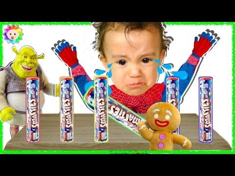 Spider Bad Baby crying & learn colors with Smarties vs SHREK Nursery Rhy...