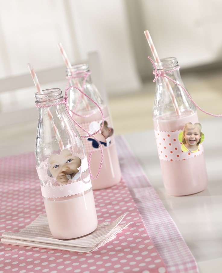 diy erdbeermilch im selbstgebastelten cocktailglas mit babyfotos kindergeburtstag pinterest. Black Bedroom Furniture Sets. Home Design Ideas