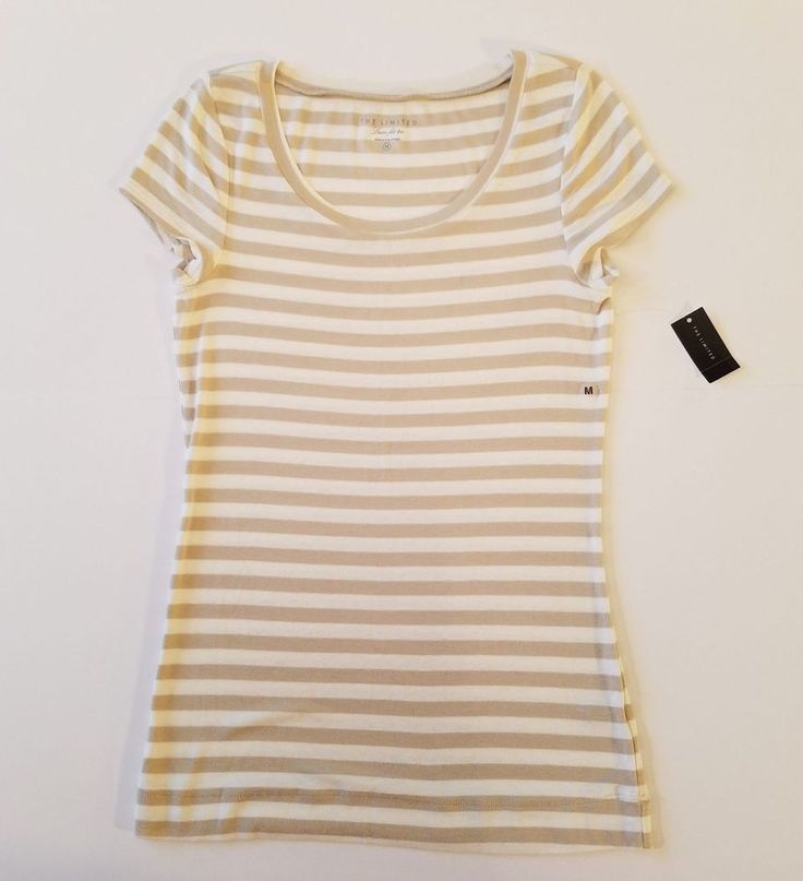 The Limited Womens Luxe Fit T Shirt Sz Medium Cap Sleeve Tan White Stripe NOS #TheLimited #TShirt #Any