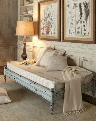 """""""Somerset"""" Daybed. Crazy about the floors.  The size of a twin bed and low to the ground, this versatile daybed can also be used as an ottoman or bench. Cotton ticking mattress included. Well shabbed!"""