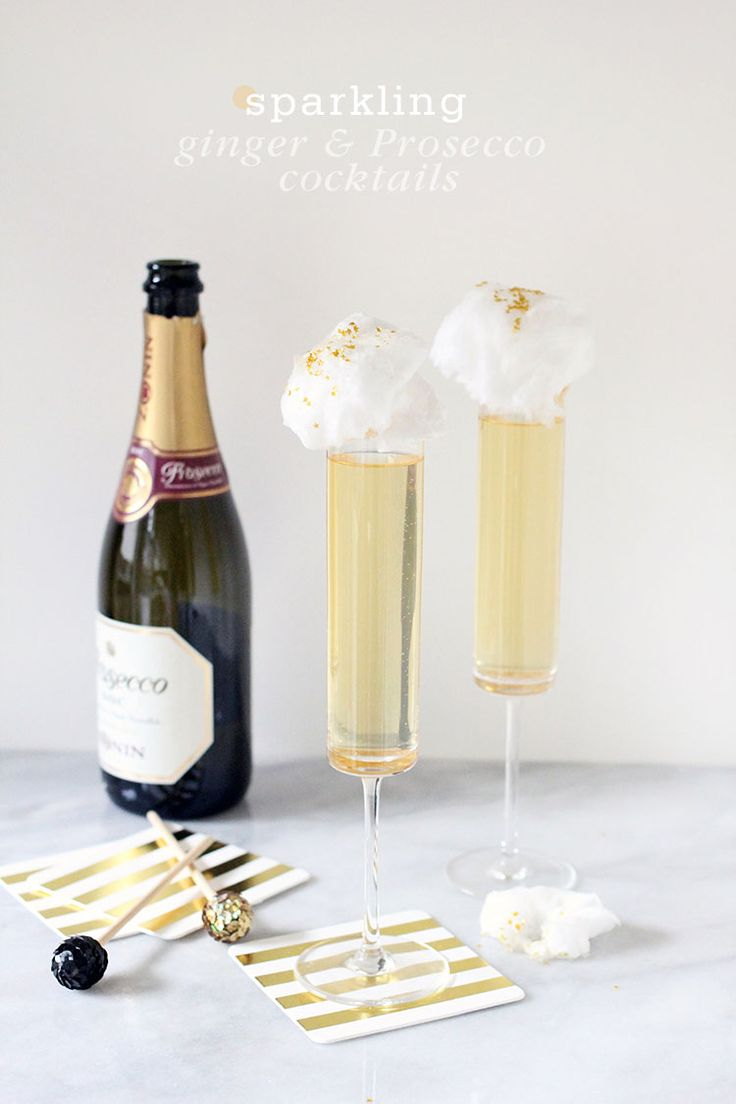 Sparkling Ginger Prosecco Cocktail New Years Eve Ginger Prosecco Cocktails