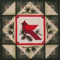 log cabin quilt with cardinal & branches - love it!
