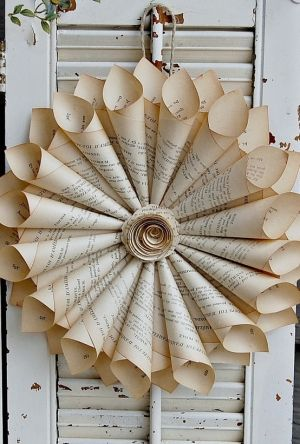 Book page wreath. DIY garlands wreaths mobiles