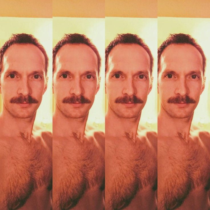 Manly mustache hairy chest male
