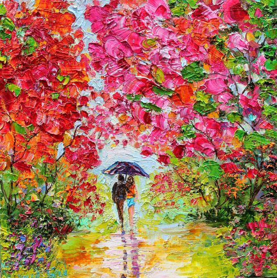Original oil painting Colorful Romance landscape by Karensfineart