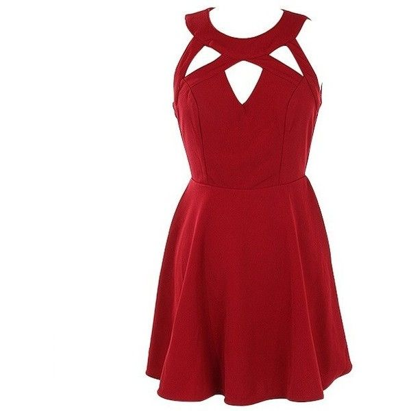 Red A Line Dress w/ Cutout Detail ($29) ❤ liked on Polyvore featuring dresses, red dress, red cut out dress, red cut-out dresses, cutout dresses and a line cocktail dress