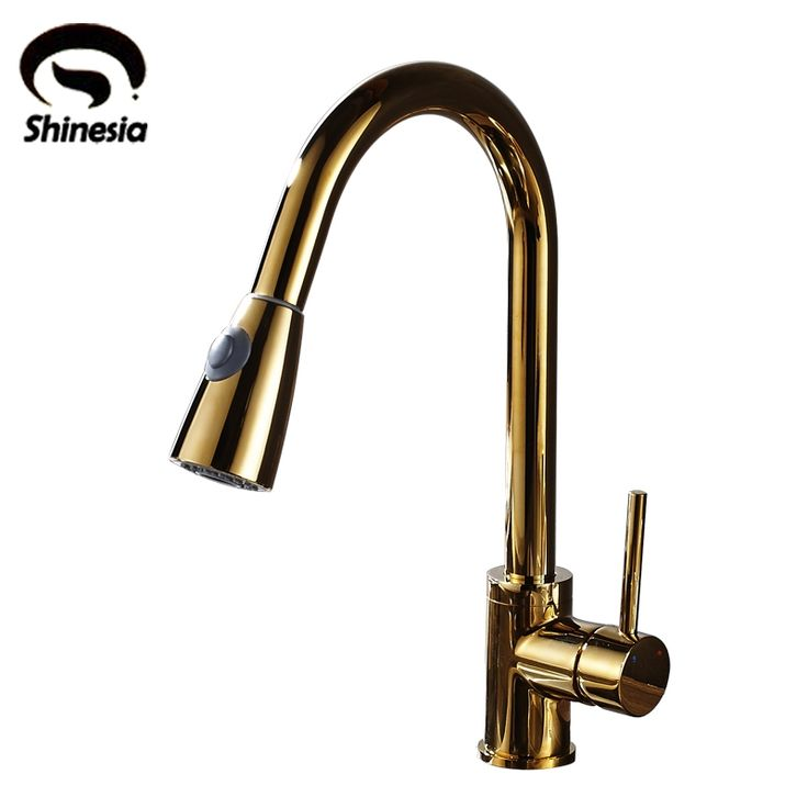60.00$  Watch now - Luxury High Quality Golden Solid Brass Pull Down Kitchen Sink Faucet Single Handle Countertop Mixer Tap  #magazineonline