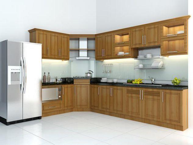Top 10 mẫu tủ bếp gỗ tự nhiên chữ L đẹp nhất | Bếp đẹp, Tủ bếp, Bếp