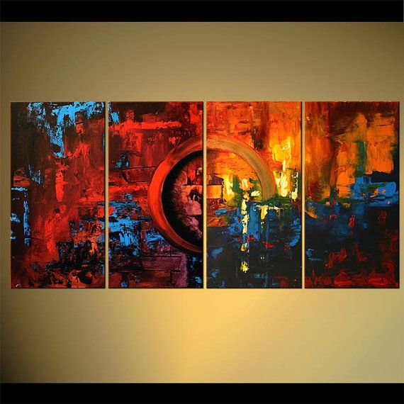 Modern Abstract Painting Colorful Large 60 x 30 by OsnatFineArt, $749.00
