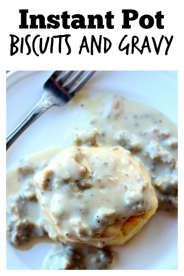 Instant Pot Sausage Gravy–country style gravy made with ground sausage and diced bacon is infused with flavors as it is quickly pressure cooked. When served over freshly baked biscuits (homemade or from a can) it tastes like a good old fashioned southern breakfast (although we eat this often for dinner). #instantpot #instapot