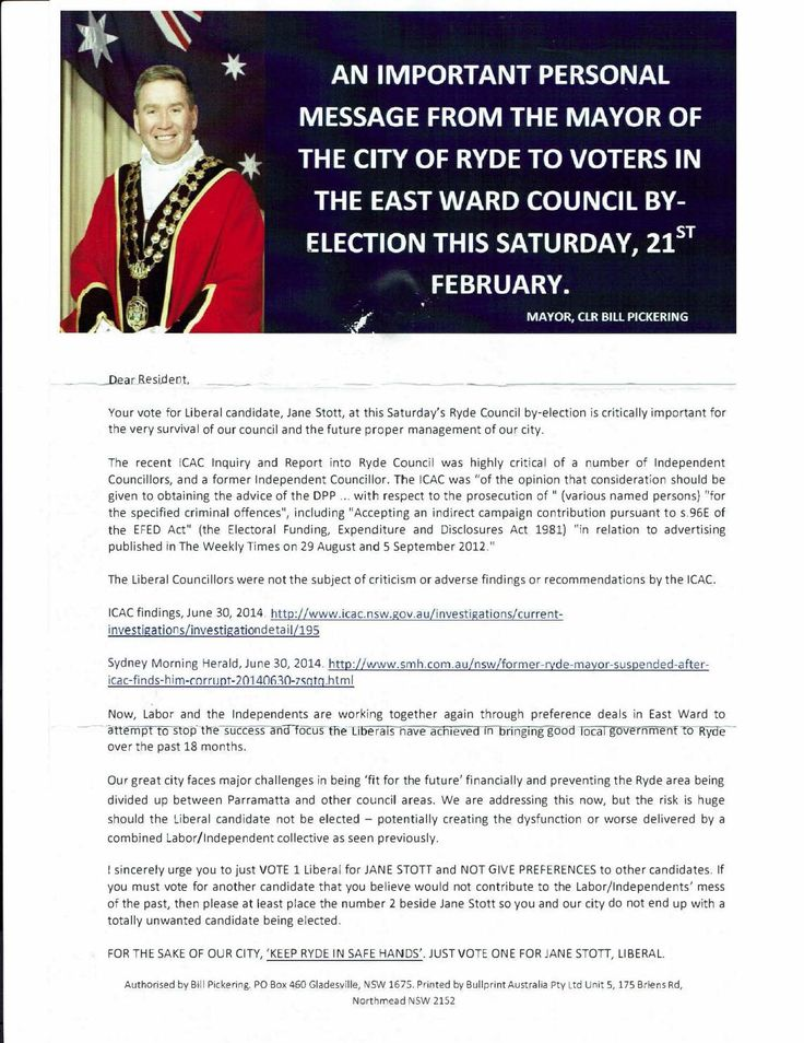 Pickering's Provocative Flyer  Text of the provocative flyer circulated by Ryde Mayor Bill Pickering featuring him wearing his mayoral robes and then a page of suggestive smear -  disingenuous to the extreme in light of the fact that Pickering was one of a small group of people who engineered an ICAC inquiry to target political rival councillors in Ryde.  Text from the dirty political gutter leaflet for which he may now pay a hefty price. He will probably try to get Ryde to foot the bill for…