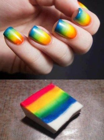 To make a Sponge Nail Art Design on your nails, you need a few different colors of nail paints and a sponge.