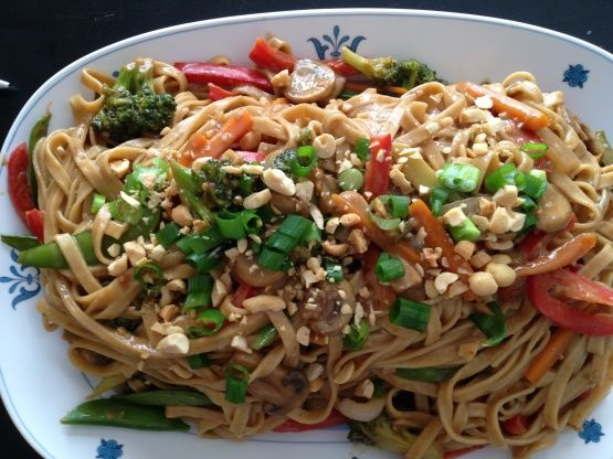 Thai Noodles With Spicy Peanut Sauce Recipe - Food.com (shared by Wesley who suggests using crunchy peanut butter, and adding cinnamon spiced chicken)