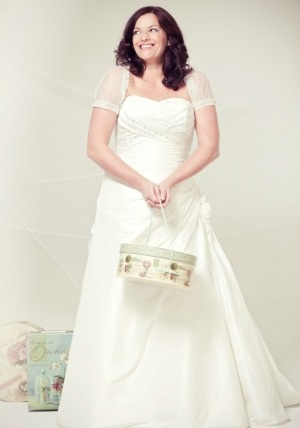 Benjamin Roberts Tia. 5156.  £700. A-line taffeta, ruched stomach, delicate embroidery to the bodice and corset tie back.