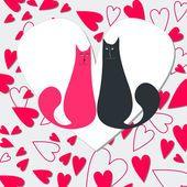 Gatos bonitos no amor — Ilustração de Stock #8425924