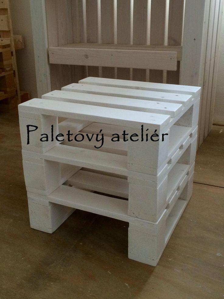 Paletový+stolek+noční/bobík+na+sednutí+Stolek+z+palet+se+dvěmi+policemi,+rozměry+40x40+cm,+výška+30+cm.+Lze+použít+jako+noční+stolek+či+odkládací+stolek,+příp.+stoličku.+Barva+bílá+s+patinou.+Po+dohodě+lze+dodat+i+v+jiné+barvě.+Foto+pouze+ilustrativní,+každý+kus+originál.+Vyrobeno+z+dřevěných+palet+pro+průmyslové+využití,+zachován+industriální+vzhled....