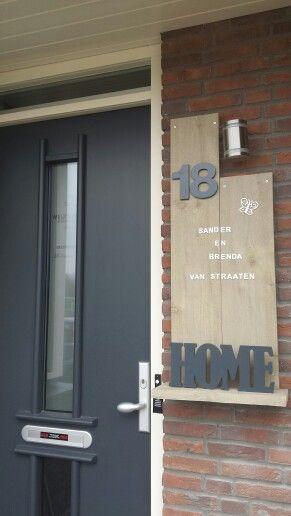 Steigerhout Naambord Voordeur #zelfgemaakt / #diy nameboard scaffolding wood