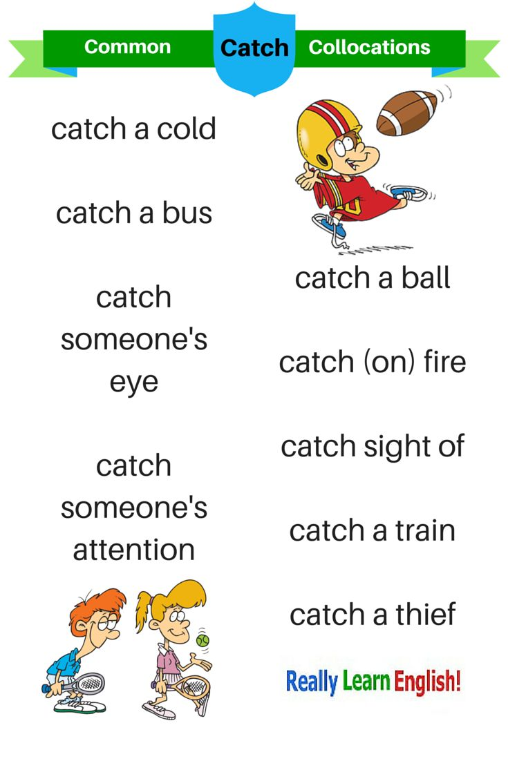 "English collocations ""catch"" (Great English language graphic for teachers and ESL / ELL students) Learn English for Free!"