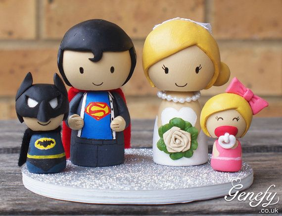 Superhero family wedding cake topper !