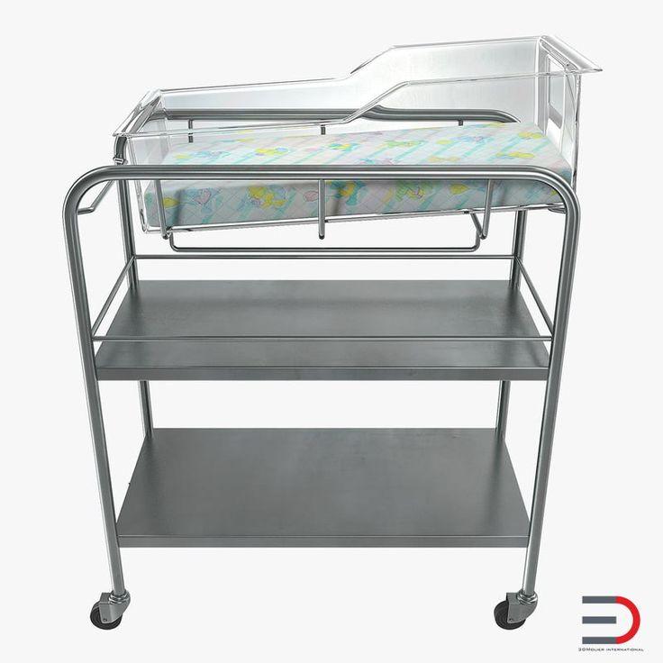 Stainless Steel Hospital Bassinet Carrier with Shelf 3D model
