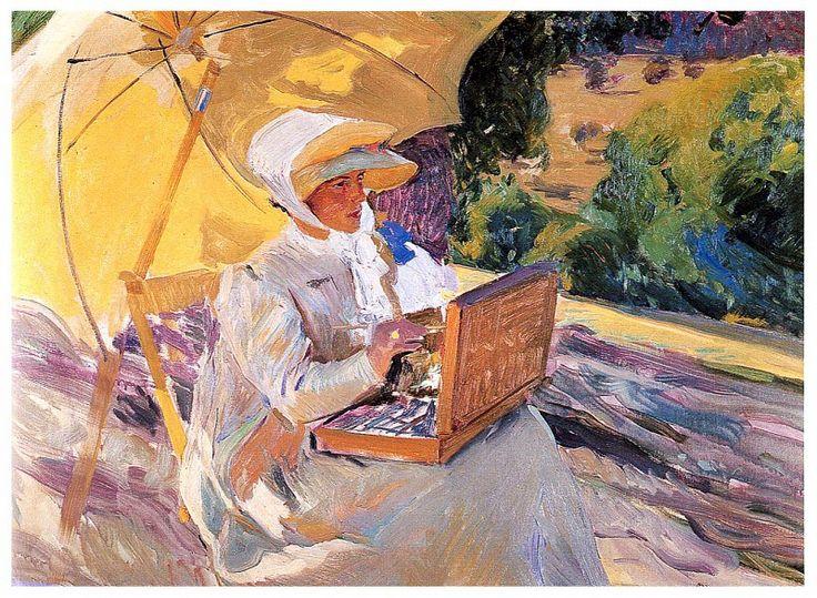 Мария, рисующая возле Прадо. Хоакин Соролья