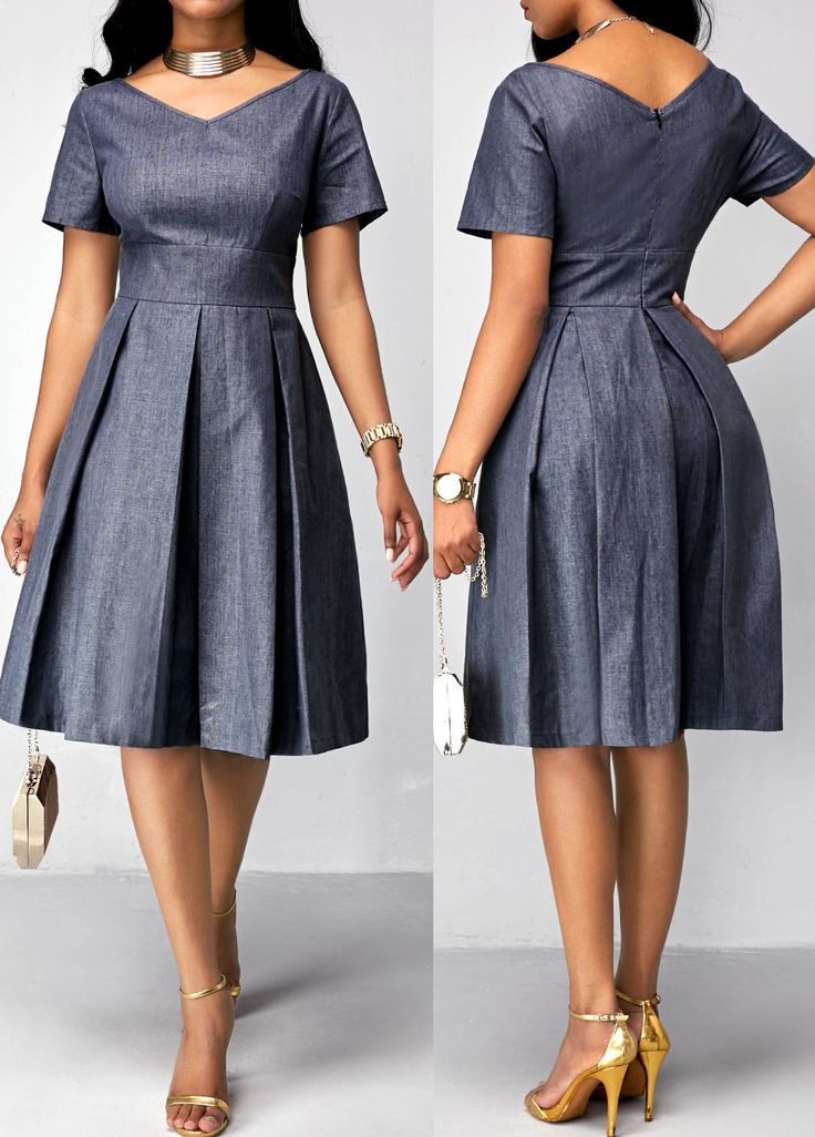 Short Sleeve Pleated Band Waist Dress on sale only US$35.84 now, buy cheap Short Sleeve Pleated Band Waist Dress at liligal.com