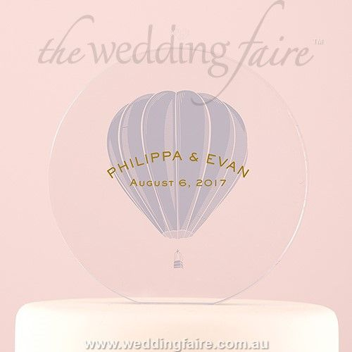 Vintage Travel Engraved Personalised Round Acrylic Block Cake Topper- Hot Air Balloon - The Wedding Faire