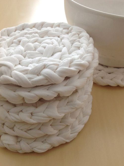crochet coasters out of t shirt yarn. Ooo next project! We need baby-proof coasters.