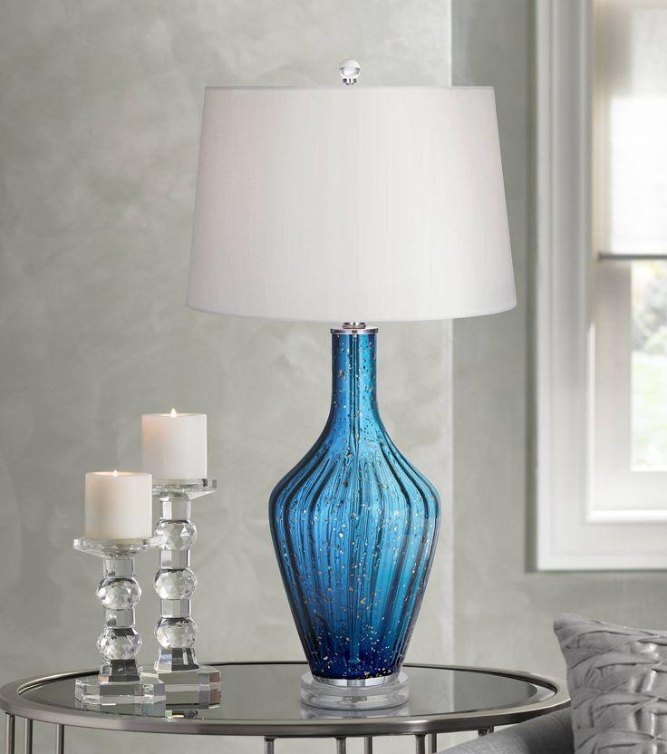 Possini Euro Elin Blue Fluted Art Glass Table Lamp - #6P899 | Lamps Plus