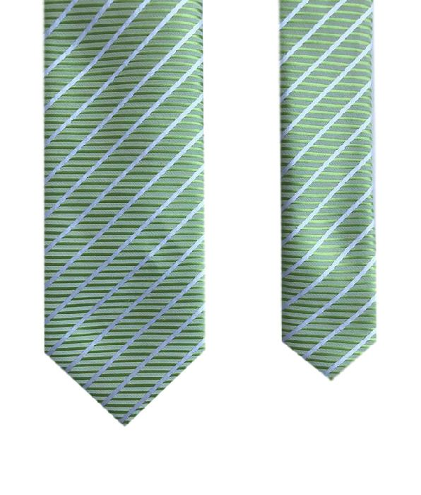 Eleganza Junior Green Striped Kids Classy Fancy Stripes Boy's Slim Neck Tie #Eleganza #NeckTie #kidsfashion