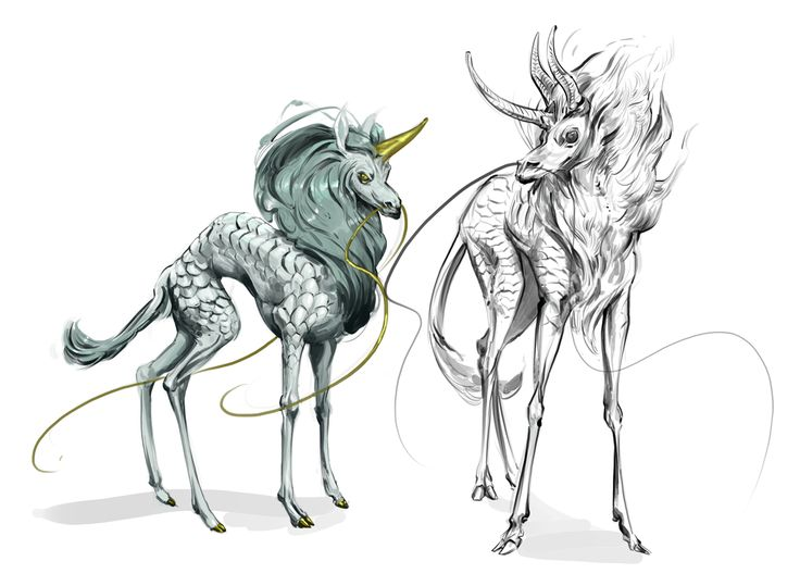 The Chi Lyn (or Ki Lin) is a type of Unicorn from China. The male is called a chi, and the female a lyn. They have the body of a deer, the head of a dragon, the tail of an ox, and, like European Unicorns, a single horn in the middle of their foreheads. Each Chi Lyn is about the size of a goat. The skin of a Chi Lyn has hues of blue, black, green, red and white, the colors of the five Chinese elements. They are the gentlist of all creatures, not even bending the grass when they step on it.