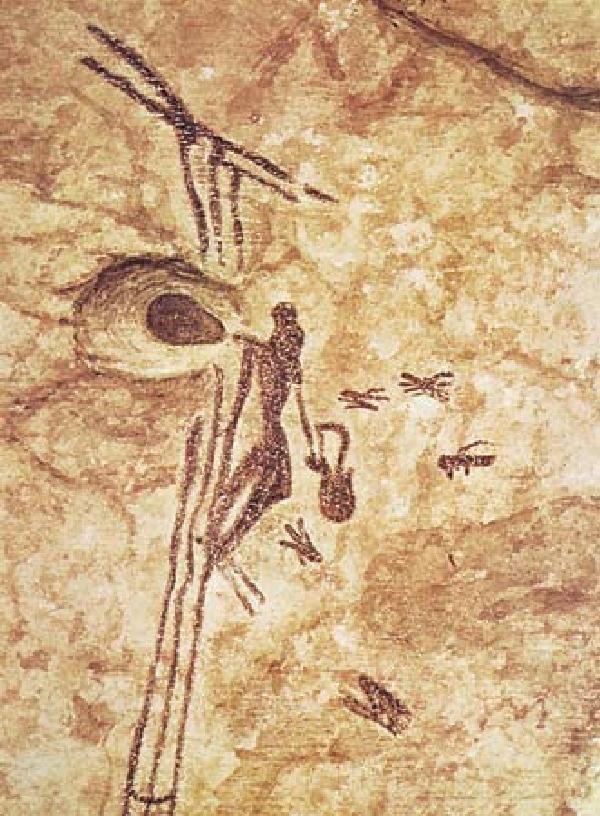 Woman gathering honey, - Mesolithic (c. 10,000/8000–c. 3000 bce) Cueva de la Arana, near Bicorp, Spain; Museum of Prehistory, Valencia, Spain.