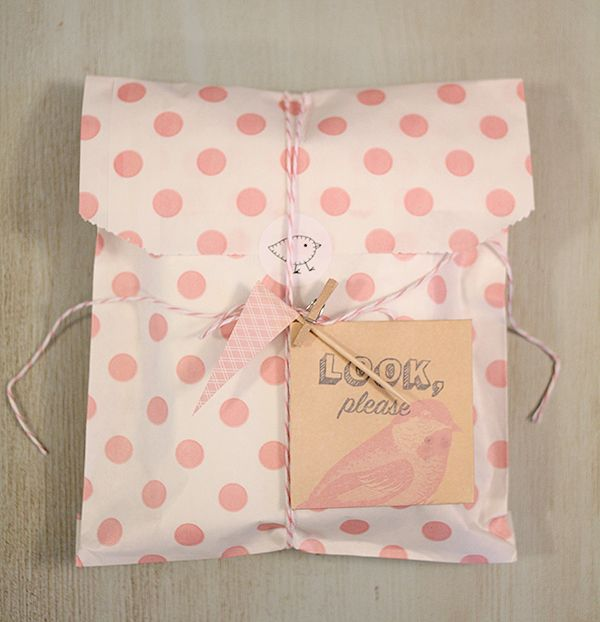 :D paper bag, tag, bird sticker, teeny clothespin, toothpick pennant & baker's twine.  ALL PINK !!!