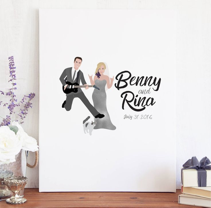 Rock and Roll Wedding Guest Book Canvas for Musician Wedding