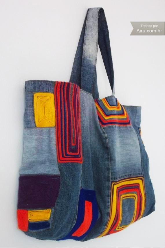 Bolsa Jeans Artesanal: experimentar com jeans e amostras tecidos decoração