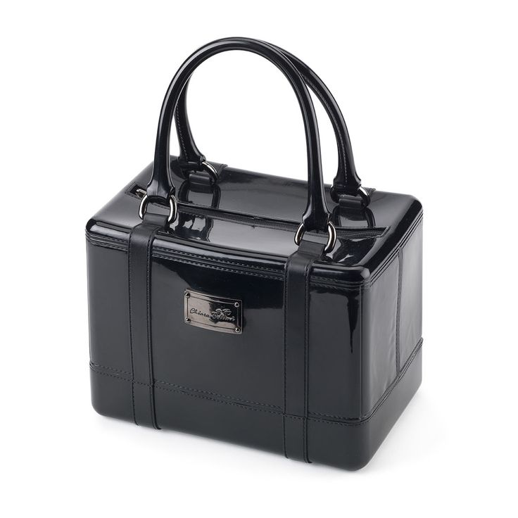 Satchel handbag in solid coloured bright PVC with metal plate