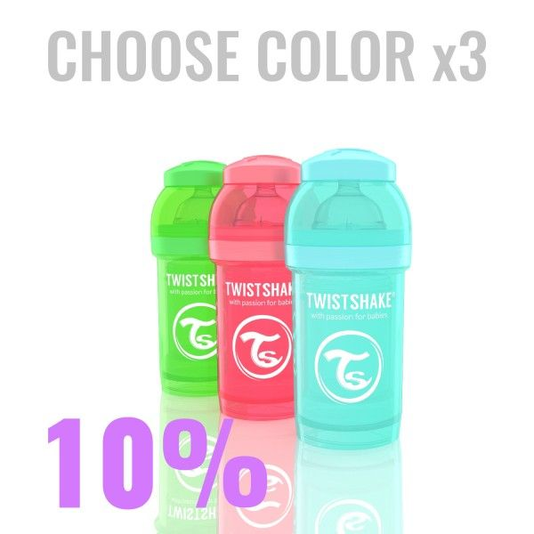 24.03€ Multipack with 3x 180ml/6oz Twistshake bottles in color of your choice.