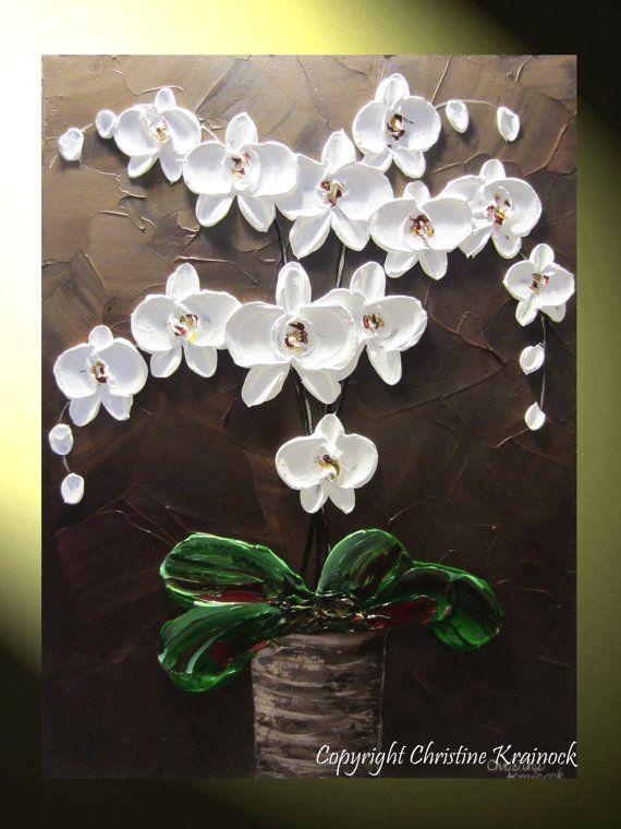 "White Orchid Painting, ORIGINAL Fine Art, Modern, Abstract Textured Paintings White Orchids, White Orchid Flowers ""Elegance"" Home Decor, Holiday, Winter, Wall Art, by Contemporary Artist Christine Krainock"