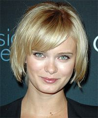 perfect ear to chin length bob with thick bangs on one ...