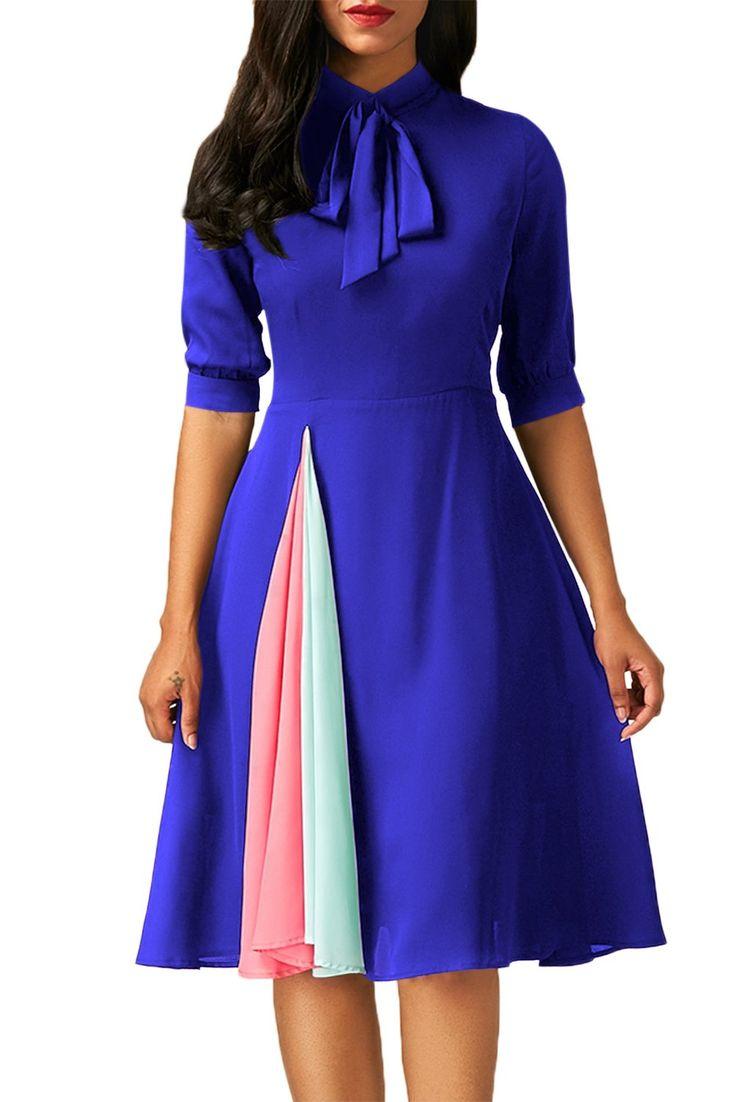 False Slit Splice Royal Blue Bow Tie Vintage Dress