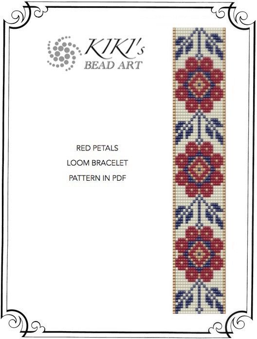Bead loom pattern - Red petals flowery LOOM bracelet pattern in PDF instant download