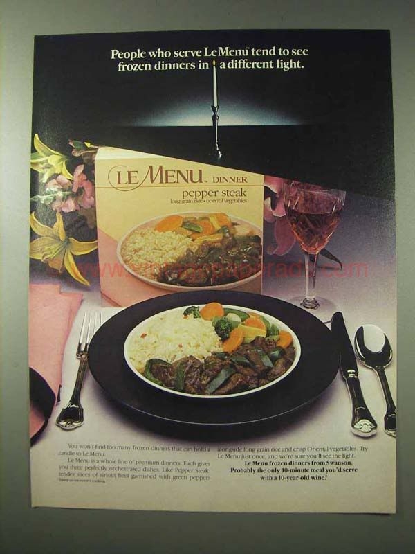 Le Menu Dinners, These Came On Reusable Plates. I Still Have A Couple And
