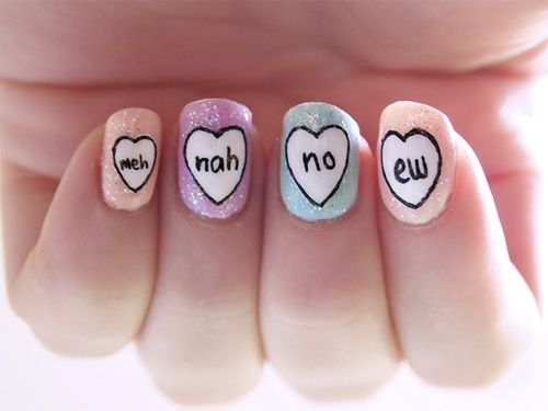 19 best nails images on pinterest gel nails nail designs and meh nah no edont care for the word choice but the idea is cute if words are different prinsesfo Images
