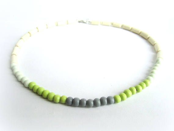 Mens wooden choker men wood beaded necklace gray green wood