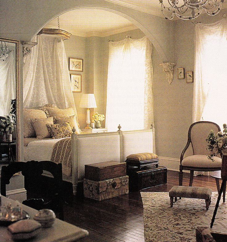 The master bedroom of a stately 1850 house. Image from Book: Bedrooms