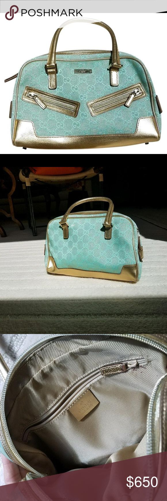 """Gucci Vintage Powder Blue and Gold Satchel BEAUTIFUL!l Powder Blue and Gold Gucci satchel. Canvas and Leather material, Gold Metallic detailing, zippers, Gucci GG logo. Impeccable exterior, looks BRAND NEW, used only twice. Slight lipstick mark on interior lining. What a Gem! L10""""xW3""""xH6"""" Gucci Bags Satchels"""